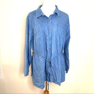 Isabel Maternity Button Sown Jean Shirt